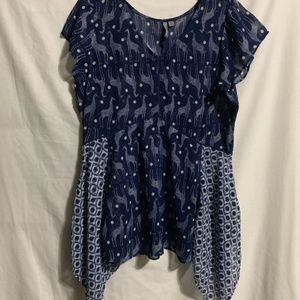 Medium Blue Giraffe Handkerchief Tunic Blouse